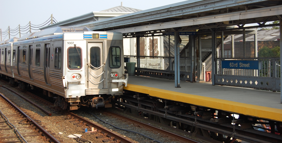 The El or Market-Frankford Line train in Philadelphia, stopped at 63rd Street station
