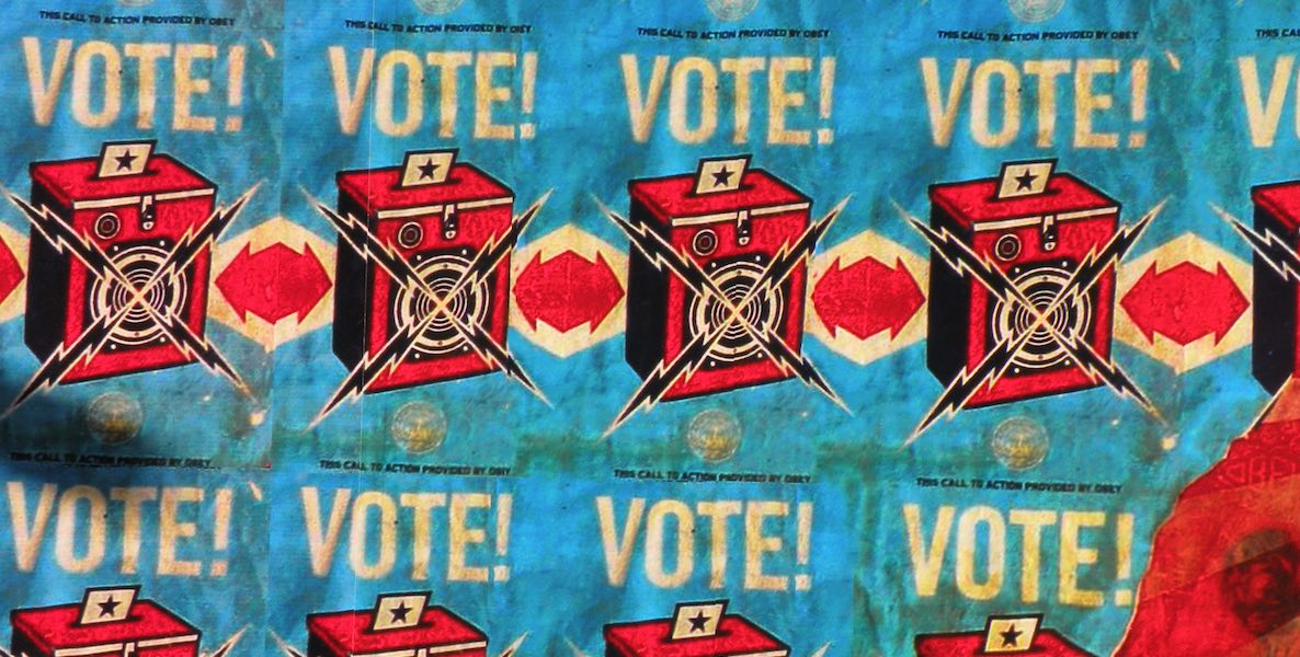 Shepard Fairey voting mural on the streets of San Francisco.