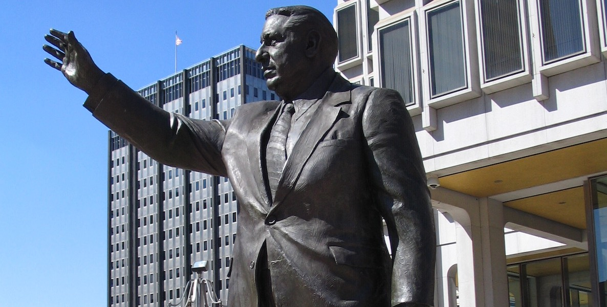 Frank Rizzo Statue outside MSB. Photo by Ann Gav