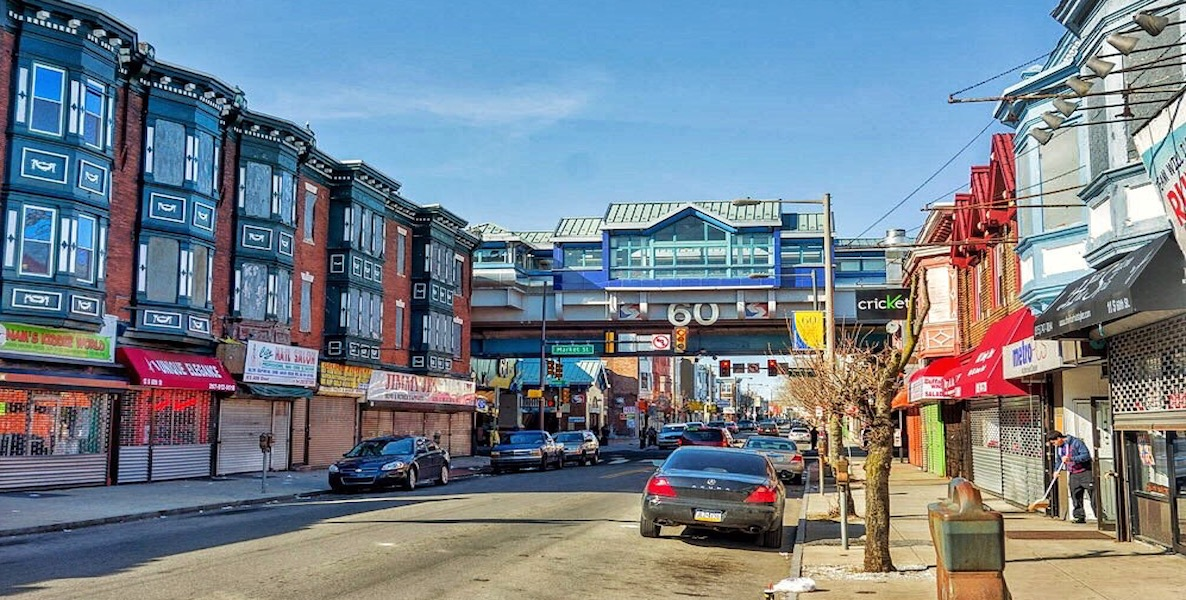 Philadelphia's 60th Street business corridor on a bright, sunny day.