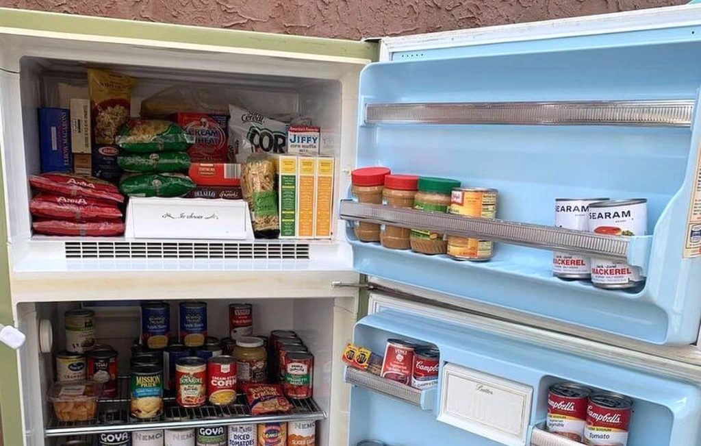 A Philadelphia Community Fridge stocked with pantry staples for the food insecure in Philadelphia.