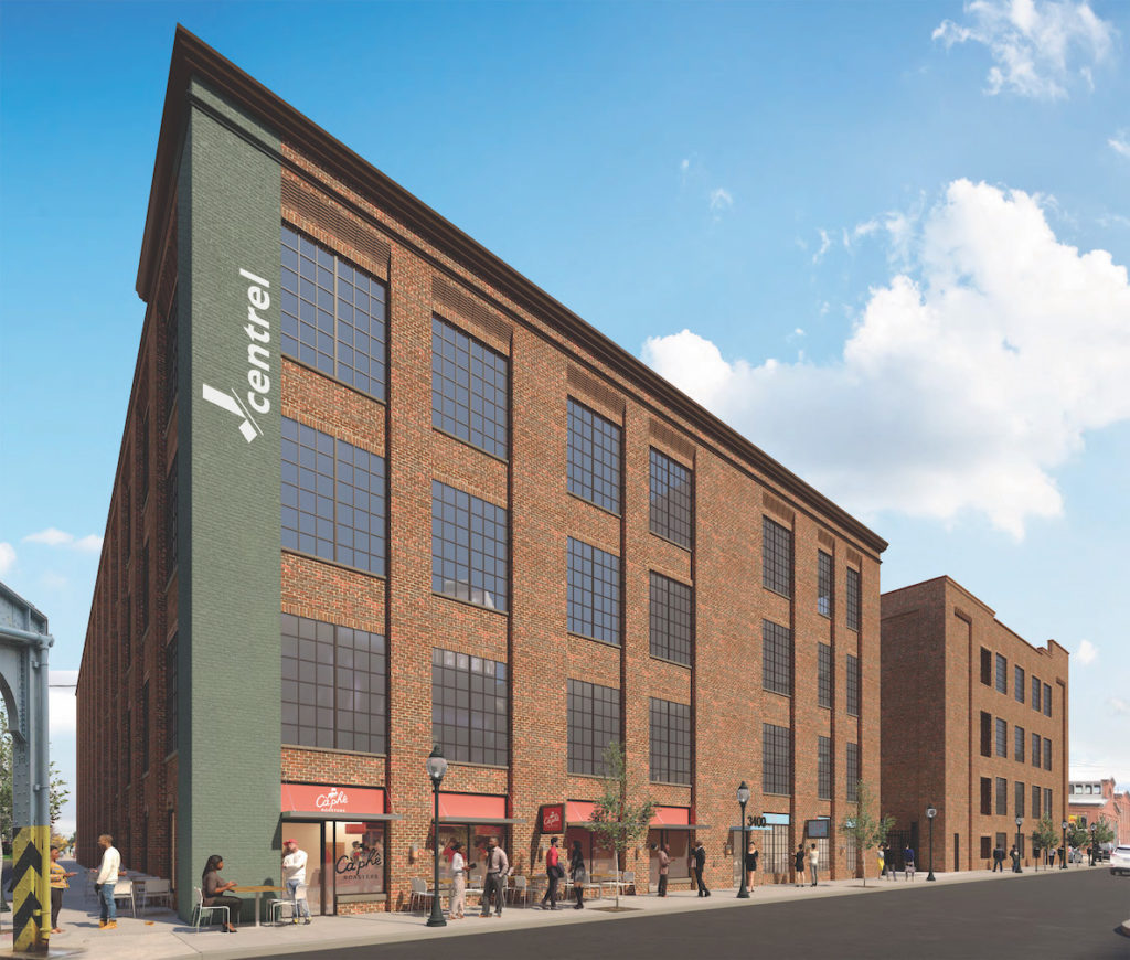 Rendering shows proposed J-Centrel, a multi-use converted warehouse on J Street that will have 116 apartments.