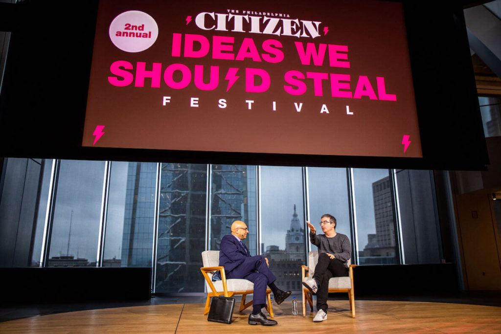 John Oliver and Ali Velshi at the Ideas We Should Steal Festival in Philadelphia