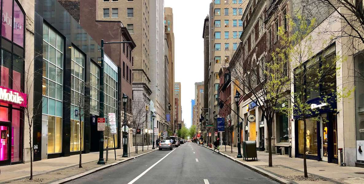 Walnut Street in Philadelphia, one of the business districts in the city that will be the focus of reopening and recovery efforts after the coronavirus