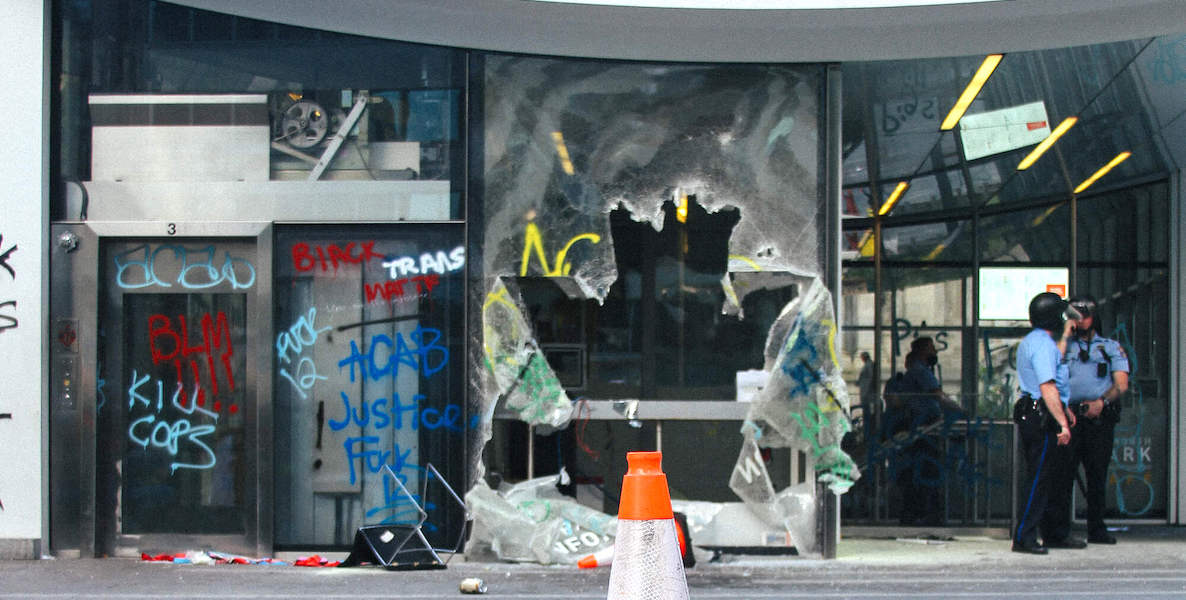 A store window in Philadelphia is smashed in following looting that happened in Philadelphia in response to the killing of George Floyd in Minneapolis.