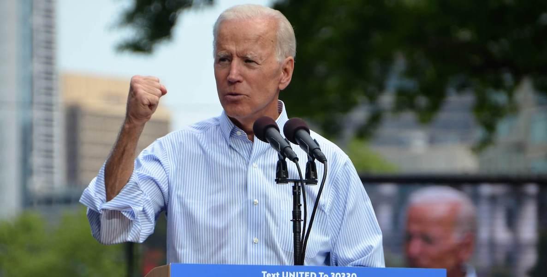 Joe Biden raises his fist at a campaign event in Philadelphia.