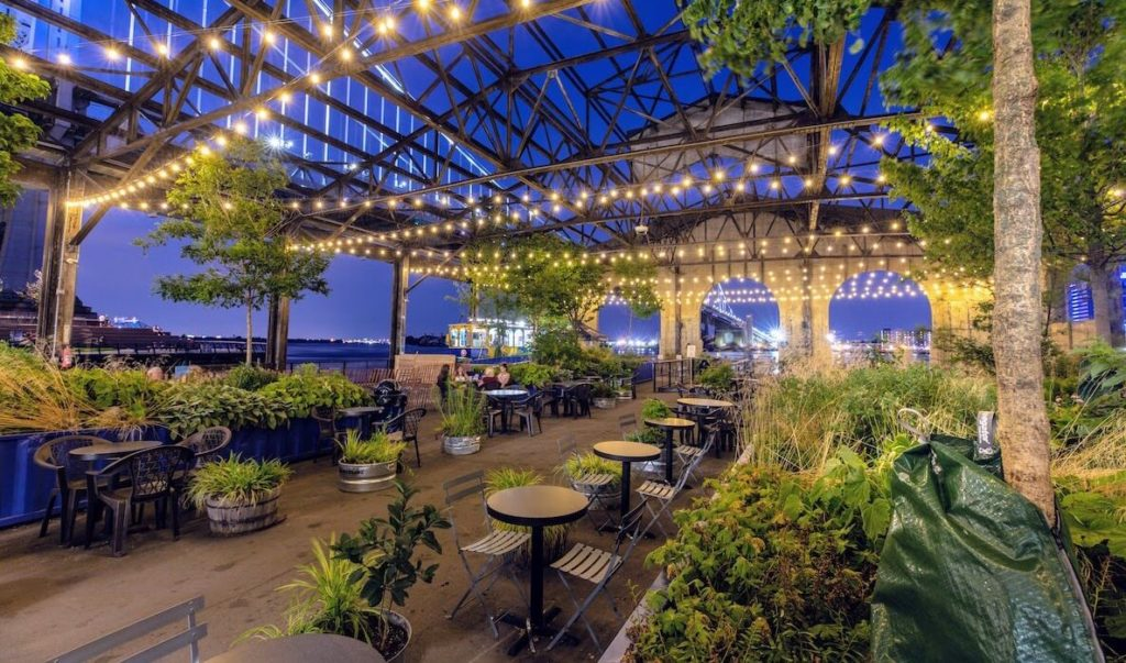 The outdoor seating area at new outdoor restaurant The Garden at Cherry Street Pier