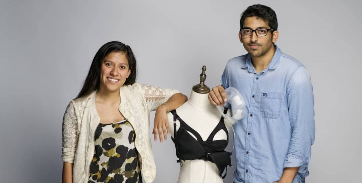 Adriana C. Vázquez and Sujay Suresh Kumar, co-founders of the Lilu breast pump bra