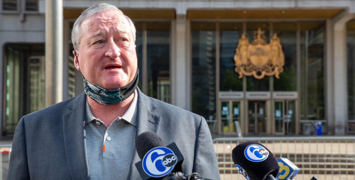 Philadelphia Mayor Jim Kenney speaks at a press conference in front of the Municipal Building following the removal of the Frank Rizzo statue.