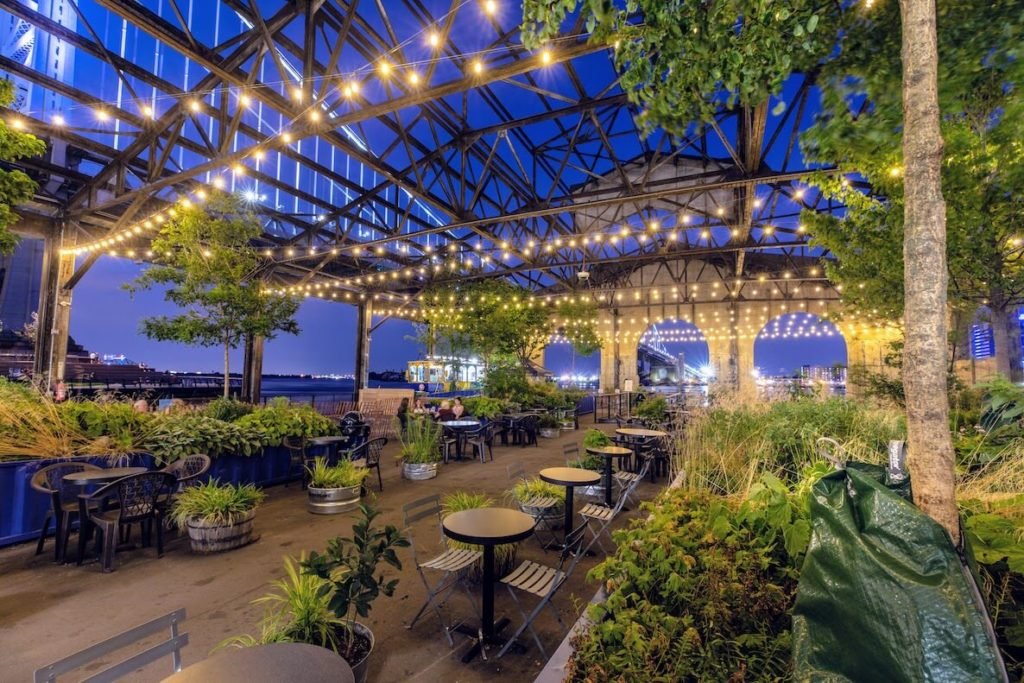 The outdoor seating area at the Garden at Cherry Street Pier
