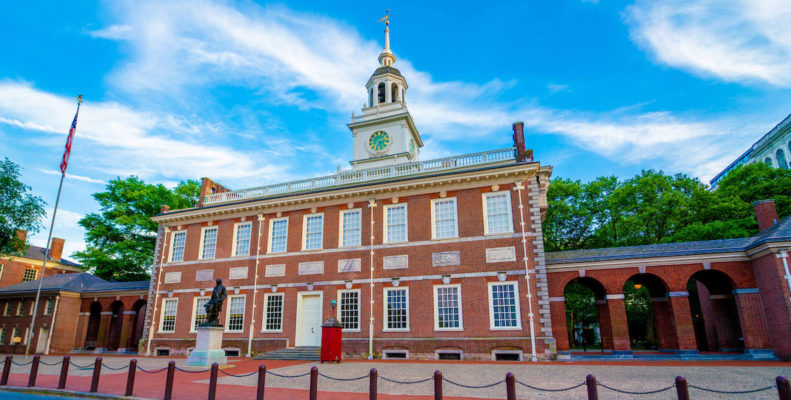 Independence Hall in Philadelphia on a bright, sunny day