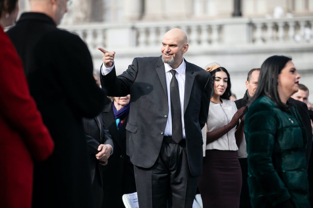 Pennsylvania Lieutenant Governor John Fetterman points to someone in the crowd
