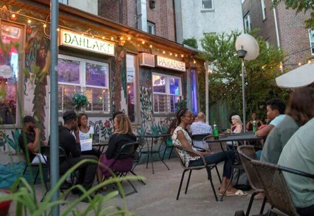 The outdoor seating area at Dahlak in West Philly