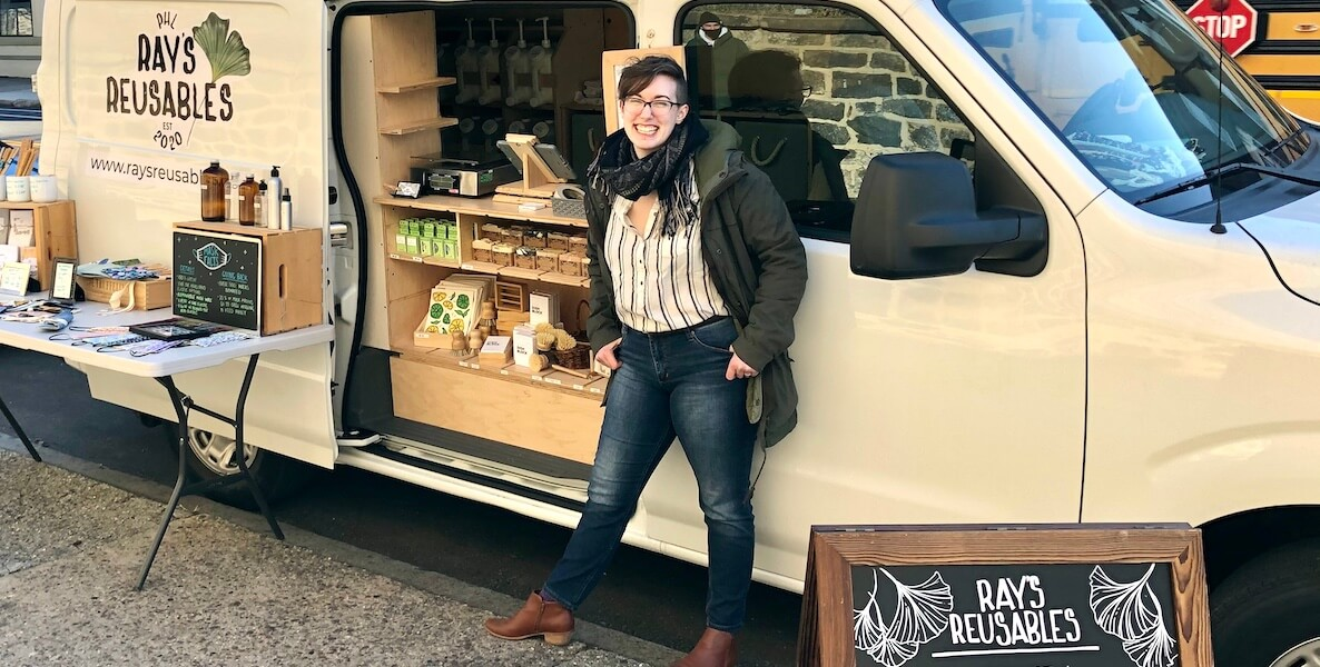 Ray Daly and her mobile van selling refillable cleaning supplies