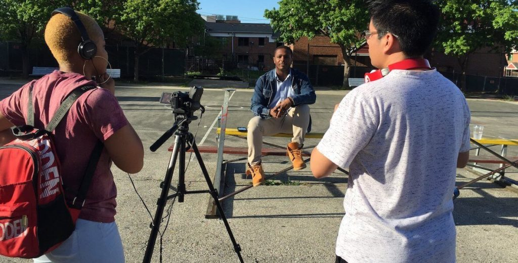 Philadelphia youth film a segment for POPPYN, which will appear on YouTube