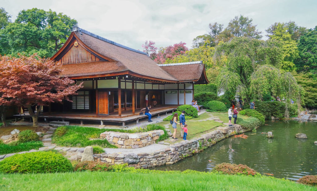 Guests tour the Shofuso House and gardens in Philadelphia's sprawling Fairmount Park