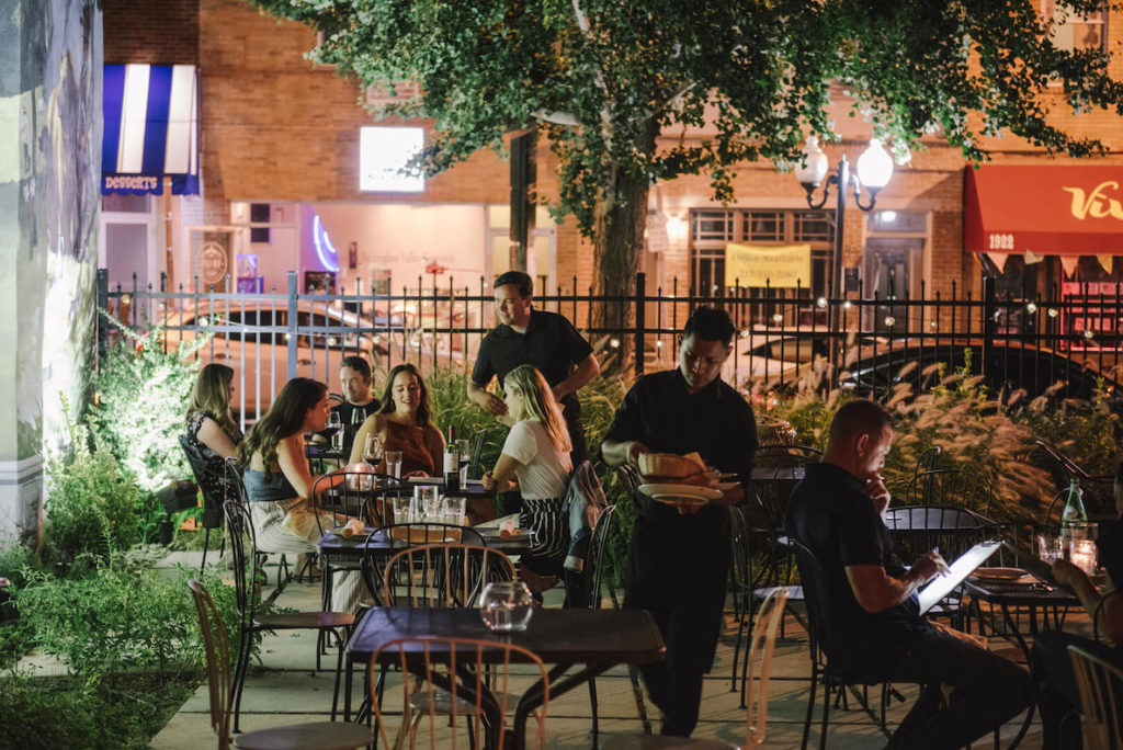 This photo of Le Virtu accompanies an article about the best and most beautiful places to eat outdoors in Philadelphia