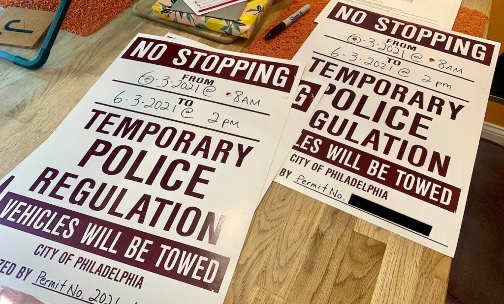 No Stopping signs used for street closure permits in Philadelphia