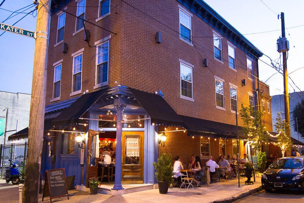 This photo of The Good King Tavern accompanies an article about the best and most beautiful places to eat outdoors in Philadelphia
