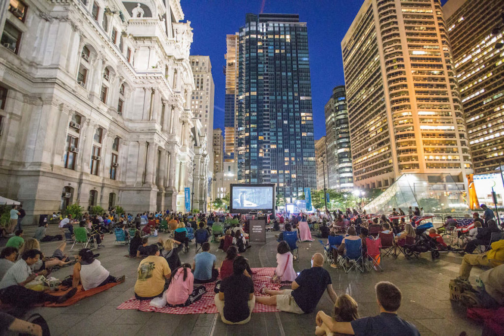 Philadelphians watch Star Wars during an outdoor movie night at Dilworth Park