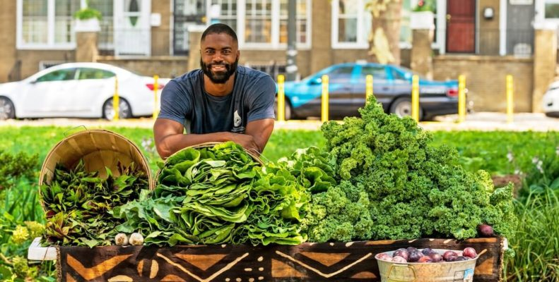 This photo accompanies an article about Khalil Steward, a Philadelphia man with a background in food justice work who started Farmacy, a food delivery service offering fresh produce grown by local Black and brown farmers to Philadelphians at affordable prices