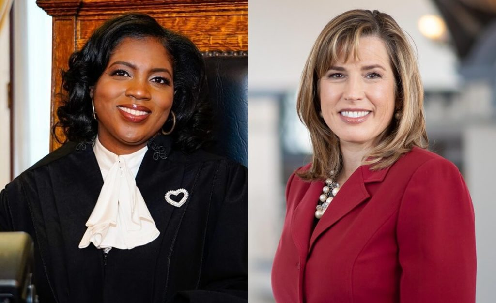 This photo of Judge of the Superior Court of Pennsylvania candidates Timika Lane and Megan Sullivan accompanies a voter guide to the 2021 General Election in Philadelphia and Pennsylvania