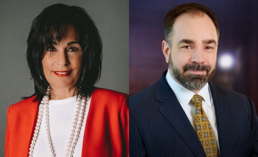 This photo of Justice of the Supreme Court of Pennsylvania candidates Maria McLaughlin and Kevin Brobson accompanies a voter guide to the 2021 General Election in Philadelphia and Pennsylvania
